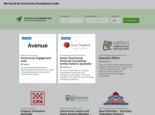 Image of a featured job ad next to normal job ad(s)